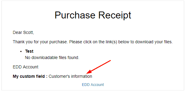 Easy Digital Downloads add custom field to customer email