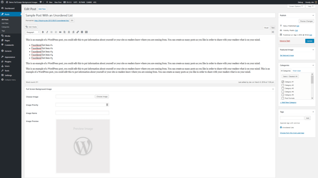 WordPress background image on specific page